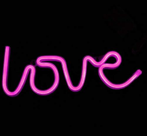 Leuchtreklame Liebe dekorative LED Nachtlicht Brief Kunst Wand Dekor für Teenager Zimmer Geburtstag Party Dekor powered by Batterie/USB (Pink) (Teenager Zimmer Dekor)