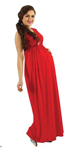12babyline HALOO Umstandskleid, langes Abdenkleid mit Aplikationen Rot