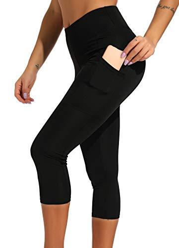 INSTINNCT Damen Doppeltaschen Sport Leggings 3/4 Yogahose Sporthose Laufhose Training Tights mit Handytasche Capris(Gerafftes Design) - Schwarz S Training Capri-hosen