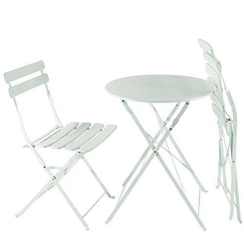 AFP Bistroset 3-teilig – Metallmöbel-Set Tisch rund + 2 Stühle klappbar, Balkonset, kleine Gartenmöbel Garnitur Balkonmöbel stabile Ausführung, farbig