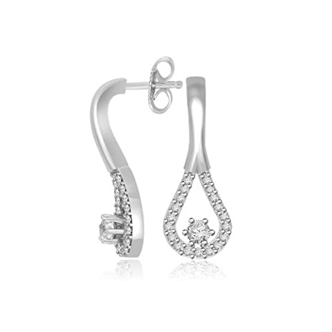 0.39ct H/SI1 Diamond Earrings for Women with Round Brilliant Diamonds in 18ct White Gold