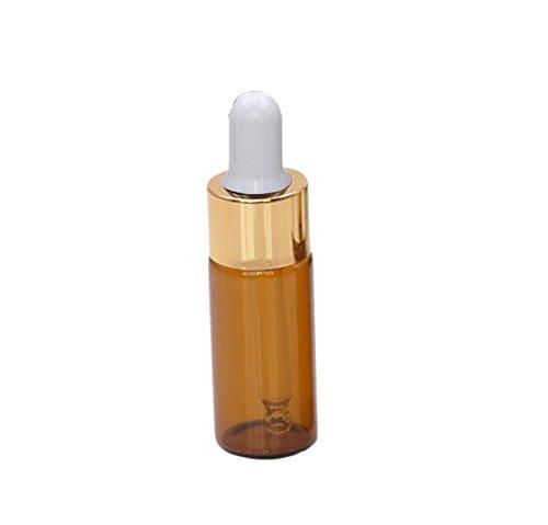 5 pcs Verre Ambre 10 ml huiles essentielles échantillon compte-gouttes bouteilles rechargeables vide DIY aromathérapie oreille Eye Dropper bouteilles