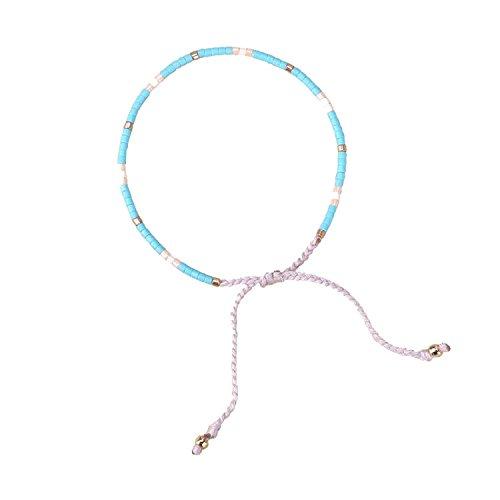 KELITCH Armband MischFarbe Rocailles Perlen Zart Schnur Freundschaftsarmbänder für Mädchen Damen - #19