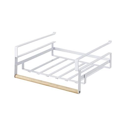 BESTonZON Multifunktions-Eisenlagerregal unter Kabinett-hängendem Regal-Küchen-Organisator -