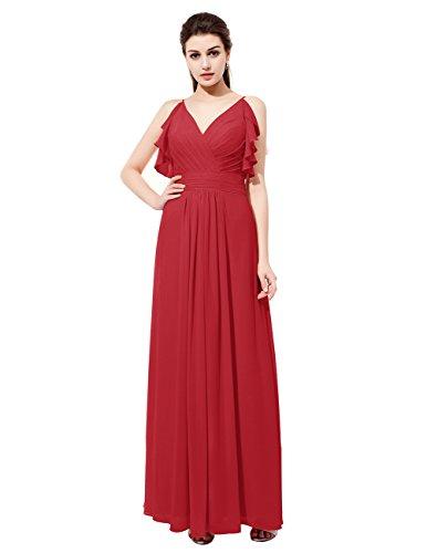 Dresstells Robe de cérémonie Robe de demoiselle d'honneur forme empire col en V longueur ras du sol Rouge Foncé