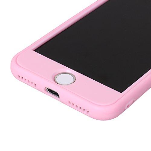 iPhone 7 Fullbody Hülle, iPhone 8 Fullbody Hülle, iPhone 7 3 in 1 Hülle, iPhone 8 3 in 1 Hülle, Moon mood® 3 in 1 Kratzfeste Kunststoff Rückseite Case Bumper Tarnung Rüstung Verteidiger Schutzhülle fü B Rosa
