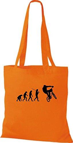 ShirtInStyle Stoffbeutel Jute Evolution Motorrad Fahrrad Biken Stunt Freebike Biker diverse Farbe orange