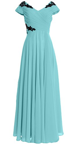 MACloth Women Cap Sleeve Long Mother of Bride Dress Wedding Party Formal Gown Aqua