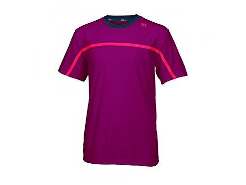 Wilson Jungen Tennisbekleidung B SU Colorblock Ringer Crew, Merlot/Coal/Neon Red, L, WRA721902LG