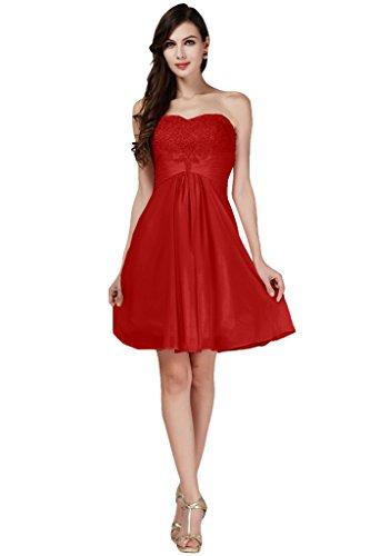 Toscane mariée sweetheart, coeur dentelle abendkleider courte demoiselle d'honneur de cocktail en chiffon à la danse partykleider mode femmes Rouge - Rouge