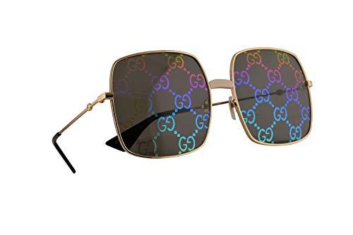 Gucci GG0414S Sonnenbrille Gold Mit Mehrfarbigen Verspiegelten Gläsern 60mm 003 GG0414/S 0414/S GG 0414S