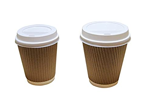 50 8oz-12oz Brown Kraft Triple Wall Paper Coffee Cups With