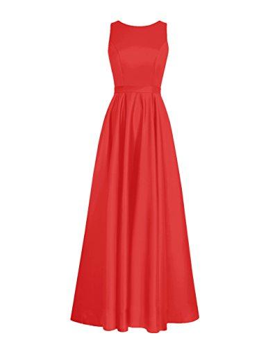 Dresstells Robe de demoiselle d'honneur Robe de cérémonie forme empire en satin longueur ras du sol Rouge