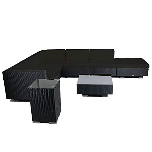 Rattan4Life Malaga Rattan schwarz/schwarz Polyrattan Gartenmoebel Sitzgruppe Lounge Moebel Set Tisch...