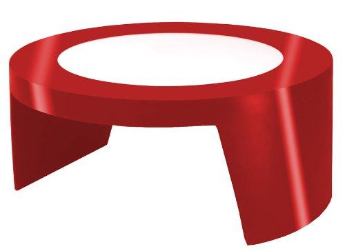 Round table basse avec plateau en verre Tao SLide - Flame Red