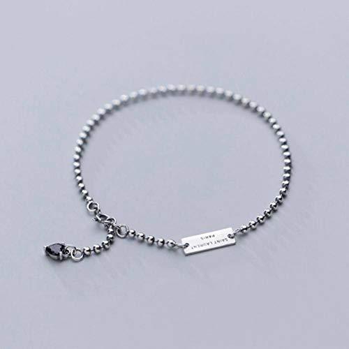 Katylen S925 Silber Fußkettchen Weiblichen Einfachen Englischen Brief Karte Perlen Perlen Mode Fußschmuck, S925 Silber Fußkette