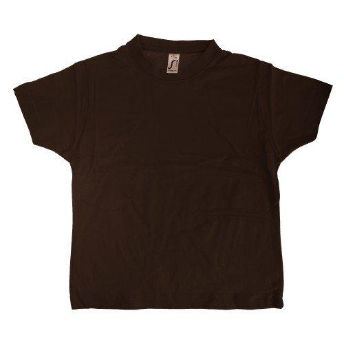 SOLS - Camiseta básica de manga corta Modelo Imperial Unisex algodón grueso Niños Niñas - Deportes/Gimnasia/Correr (4 Años/Marrón chocolate)