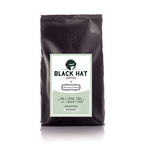 BLACK HAT COFFEE Monsoon of India - 100% Premium Arabica - 1KG ganze Kaffeebohnen optimal für Espresso & Kaffee Crema