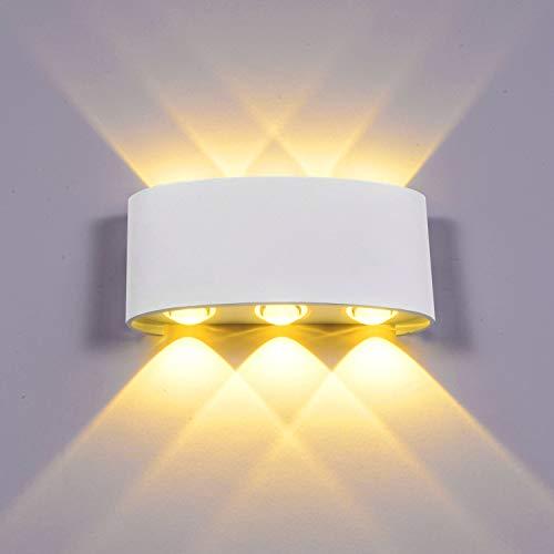 Lightess Wandlampe LED Innen Aussen Wandleuchte Weiß Modern 6W Up and Down IP65 aus Aluminium Warmweiß Wasserdicht 6x120°Ausstrahlungswinkel - Moderne 8-licht Bad Leuchte