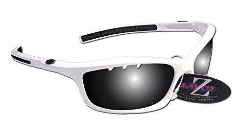 RayZor Professional leichte UV400White Sports Wrap Running Sonnenbrille, mit einem belüfteten Smoked gespiegeltem blendfreiem Objektiv (Running Spikes Mizuno)