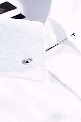 next Uomo Camicia Bianca Con Fermacolletto Vestibilità Regular Bianco Puntina