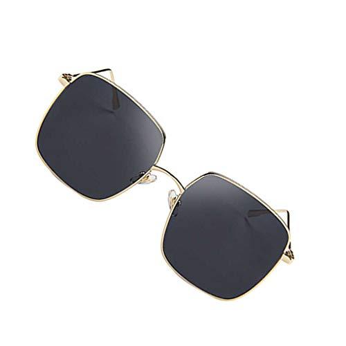 Junecat Frauen-Mädchen-Quadrat Sonnenbrille großer Rahmen Rund Gesicht Brillen Sommer-Art-Brillen HD-Objektiv