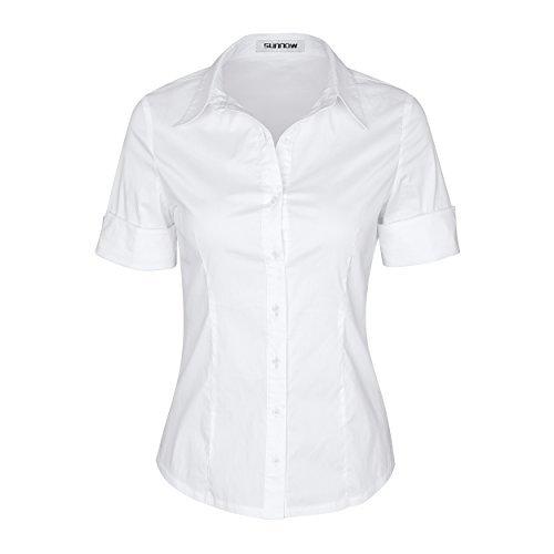 SUNNOW® Modisch Damen Shirt Kurzarm Revers Schlank Hemd Arbeit V-Ausschnitt mit Knöpfe Casual Einfarbig Oberteil Bluse Sommer (EU 36, Weiß) (Heben Sie Sich)