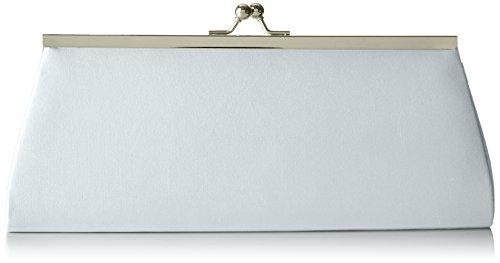Berydale Damen Satin Handtasche, Clutch Schultertasche mit Zusatzkette und Metallbügel mit Schnappverschluss, Silber
