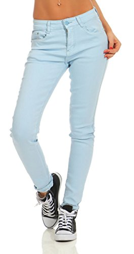 Fashion4Young 4345 Damen Hose Röhre Skinny Treggings Slim Fit Jeans Stretch Denim Übergrößen Slimline (hellblau, XXL-44)