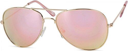 styleBREAKER Kinder Pilotenbrille mit Edelstahl Metall Gestell, Sonnenbrille 09020059, Farbe:Gestell...