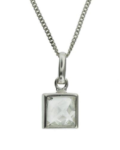 Tuscany Silver Collar de mujer con plata de ley con 1 circonita, 46 cm Tuscany Silver