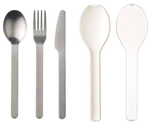 Rosti Mepal Besteck-Set Ellipse, Edelstahl/Polypropylen, 19,5x 5,1x 2,3cm, 3-teilig, weiß, 19.5 x 5.1 x 2.3 cm