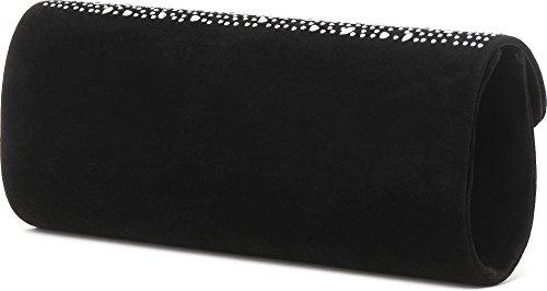 VINCENT PEREZ Borsetta, Borsa a tracolla, Pochette di velluto con strass e tracolla rimovibile (120cm) Nero