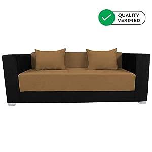 Adorn India Almond Three Seater Sofa Cum Bed (Black and Camel)