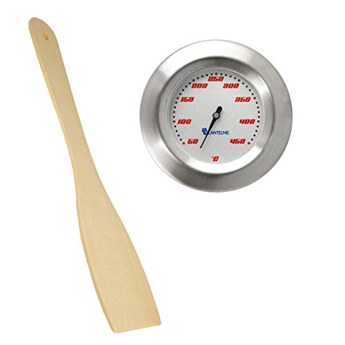 Lantelme Set Thermometer für Grill/Smoker/Räucherofen/Grillwagen und Grillzange Holz Analog/Bimetall/Edelstahl BBQ Grillzubehör Modell Racing