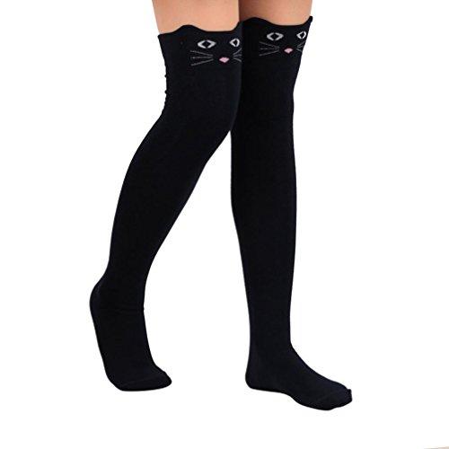 covermason Mujer Gato Dibujos animados Calcetines hasta la rodilla (Negro)