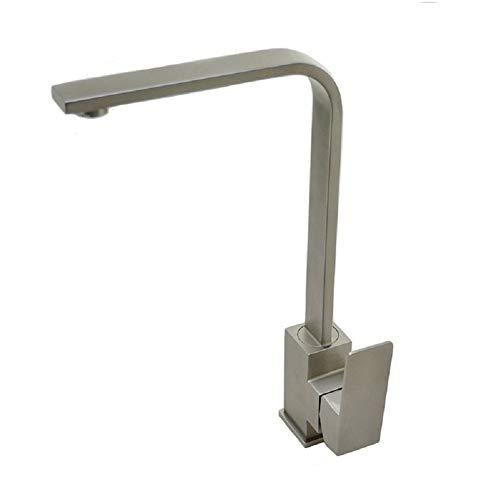 Moderne Küchenarmatur aus Edelstahl 304, Oberfläche matt gebürstet, 360 ° drehbar, Einhebel-Mischbatterie, High Square Outlet - Square Outlet