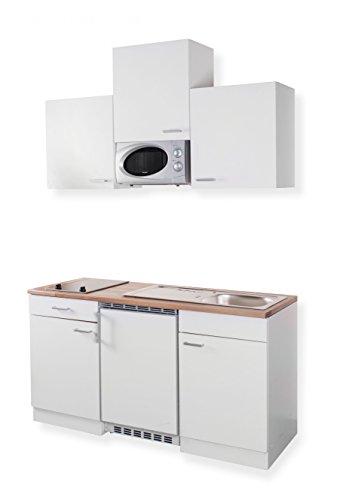 Mebasa Mebakb15W2 Miniküche In Weiß 150 Cm Oberschränke