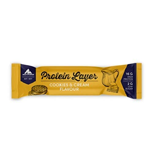 Multipower Protein Layer Bar Energieriegel mit 30{fa2a4c0c03d450a8569a8d0f2ec5bdff92bcd5064126ecff56a2516da056d800} Protein - Fitnessriegel à 18x50g - Proteinriegel als Sport-Snack - Eiweißriegel mit Cookies und Cream Geschmack - kalorienarmer Eiweißriegel