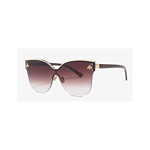 WJFDSGYG Arbeiten Sie Randlose Übergroße Kleine Goldbienen-Sonnenbrille-Damen Um, Die Modische Quadratische Schatten Der Designer-Großen Katzenauge-Gläser Sind