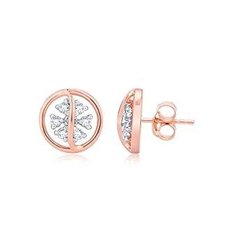 Senco Gold 18KT Rose Gold and Diamond Stud Earrings for Women