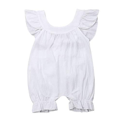 Watopi Neonata Pagliaccetto Cotone Battesimo Senza Maniche Balze Tutine Abbigliamento Estivo 0-24 Meisi