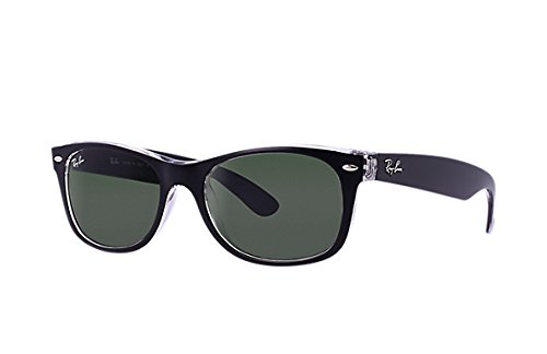 Ray Ban Sonnenbrillen Unisex RB2132 New Wayfarer 901/58, Black / Green (Polarized) Kunststoffgestell, 55mm