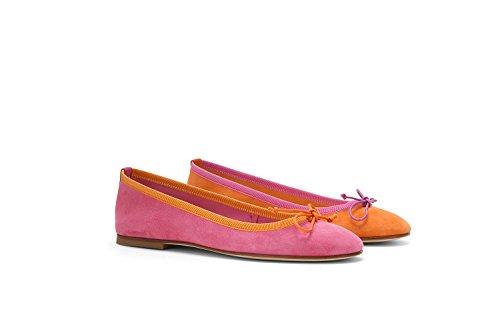 Santa Clara - Bailarina, Gamuza, Bicolor, Mujer, Fucsia Y Naranja