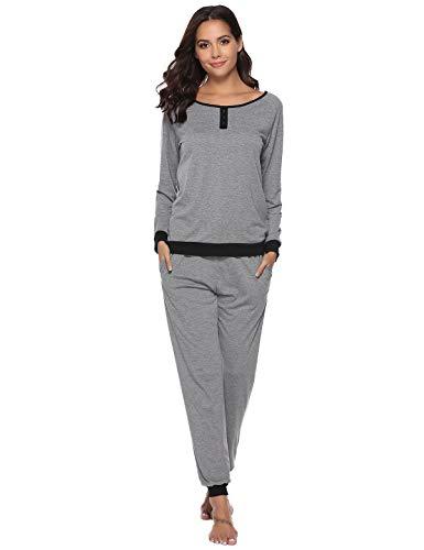 Abollria Pyjama Damen Baumwolle Schlafanzug Mädchen Einfarbige Pyjama Set Lang Zweiteilige Nachtwäsche Hausanzug Sleepwear öko Freizeitanzug Hausanzug Anzug