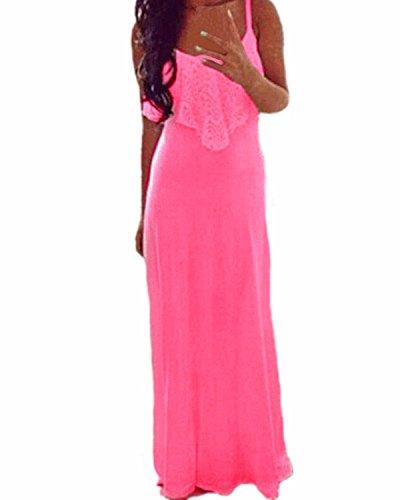 ZANZEA Donna Chiffon senza maniche Party spiaggia Sera Cocktail Lungo Maxi Vestito Rosa