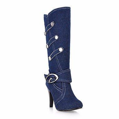 Damen Stiefel Komfort Canvas Frühling lässig blau dunkelblau schwarz flach,