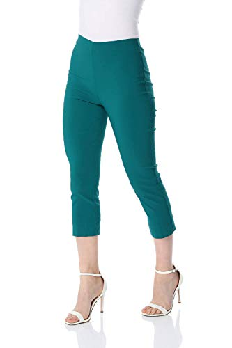 Sommer Farben (Roman Originals Damen Bengalin-Knöchelhose aus Stretch-Material - Damen mittellange Capri-Pull-on-Hosen - Sommer, Urlaub, tagsüber, Knöchelhose- 40 Farben,Jade Green,44 (16))