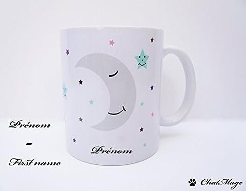 Mug, mug lune, mug pastel, mug étoiles, mug kawaii, mug à café, mug à thé, mug mignon, mug personnalisé, tasse à café, tasse à thé,