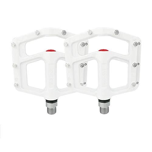 FCSW Fahrrad Pedal, Fahrradpedal Magnesiumlegierung Leichte Rennrad MTB BMX Mountainbike Pedale (Farbe : Weiß) White Pedal Bin